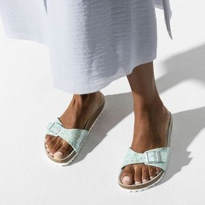 NEW • Birkenstock • Madrid Metallic Sandals Aqua 6